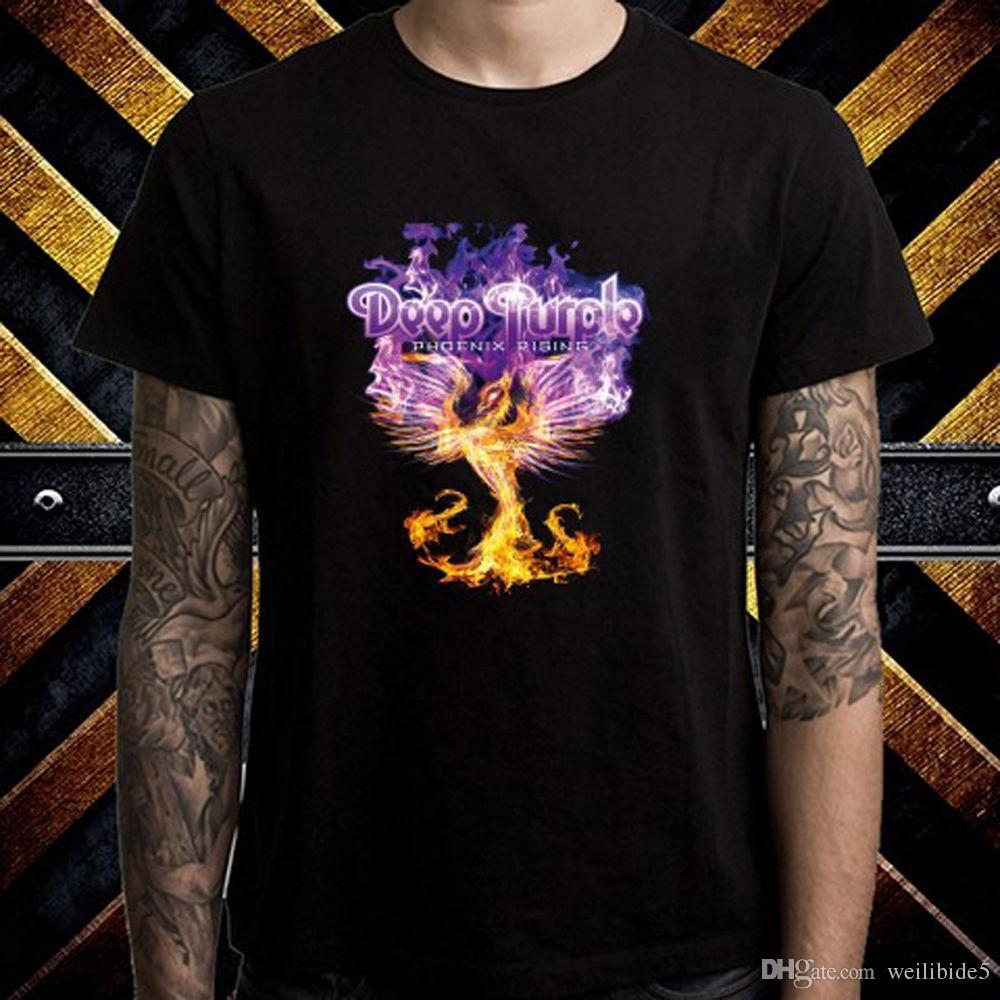 1285dd371 Deep Purple Phoenix Rising Rock Band Men'S Black T Shirt Size S M L XL 2XL  3XL Short Sleeve O Neck Cotton T Shirt Latest T Shirt Design T Shirt  Shopping ...