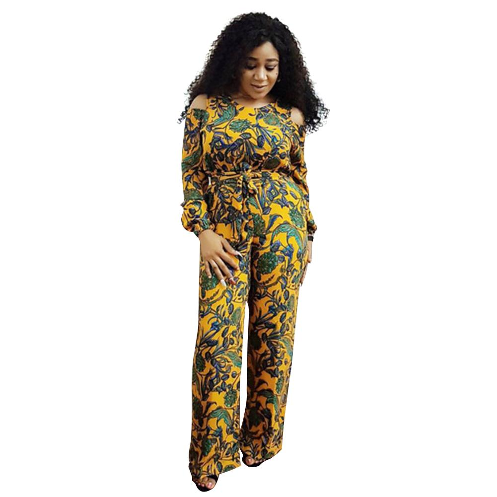 5f229db773a 2019 Sexy Rompers Women Jumpsuit Floral Print Cold Shoulder Long Sleeve Wide  Leg Pants Plus Size Playsuit Dashiki Ladies Clothes 2018 From Baxianhua