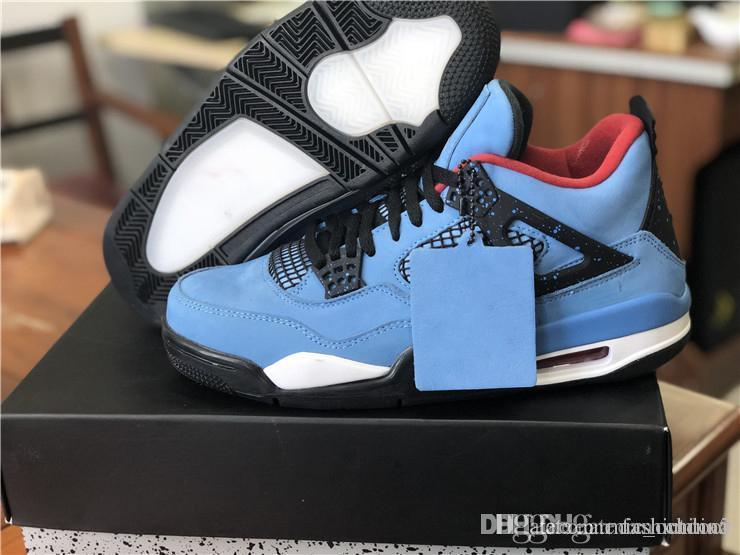various colors 0b578 4a301 2018 Release 4 Travis scott 4s Blue Suede Men Basketball Shoes Authentic  Sports Sneakers With Original Box 308497-406