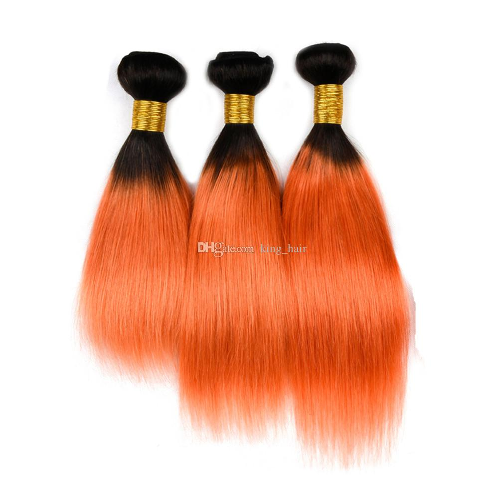 Dark Roots 1B Orange Straight Hair 3Bundles With Lace Closure 4x4 Ombre 1B 350 Straight Hair Weaves With Top Closure Free Part