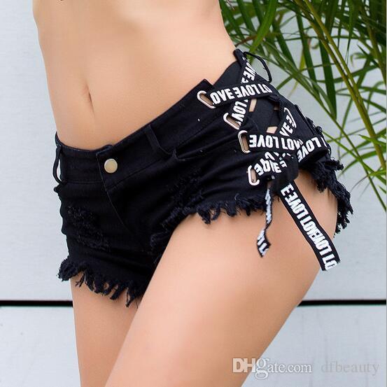 Nouveau été femmes Sexy Jeans Shorts Pantalon Taille Haute Trou Skinny Hot Pants Filles Discothèque Féminin Club Mini Denim Shorts