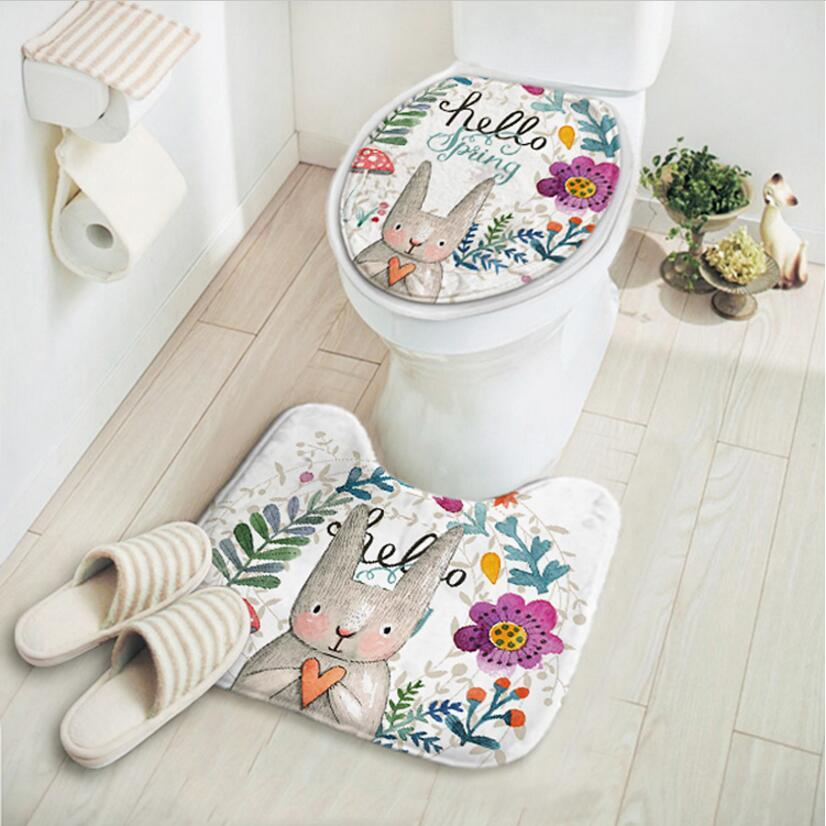 Acheter / Set Cartoon Rabbit Tapis De Salle De Bain, Toilette ...