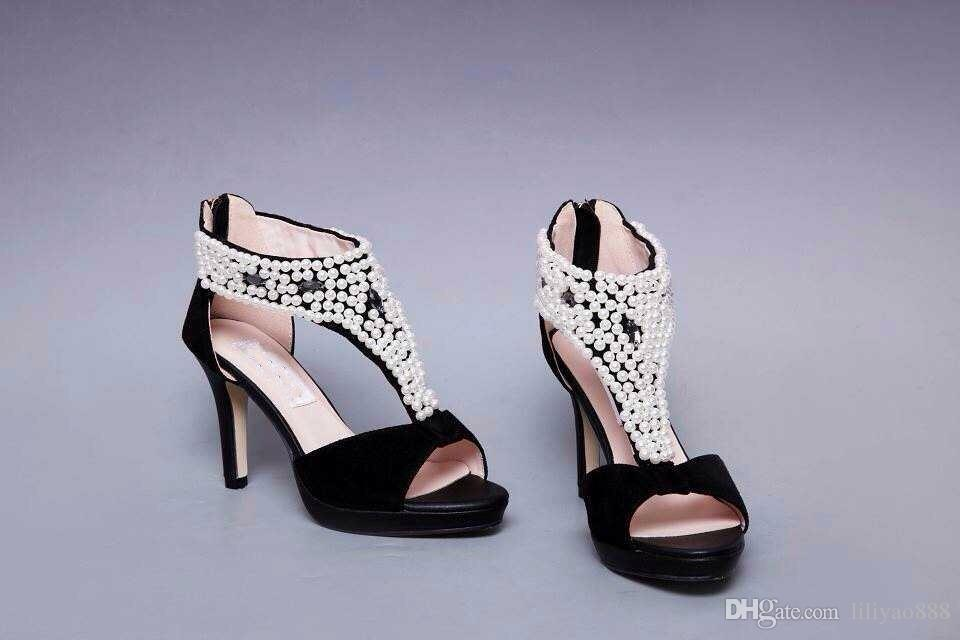 2018 New High heels Women's Sandals Pearl decoration Stiletto Heel Peep Toes Zipper Shoes Sexy Fashion Party Wedding Large Size 39