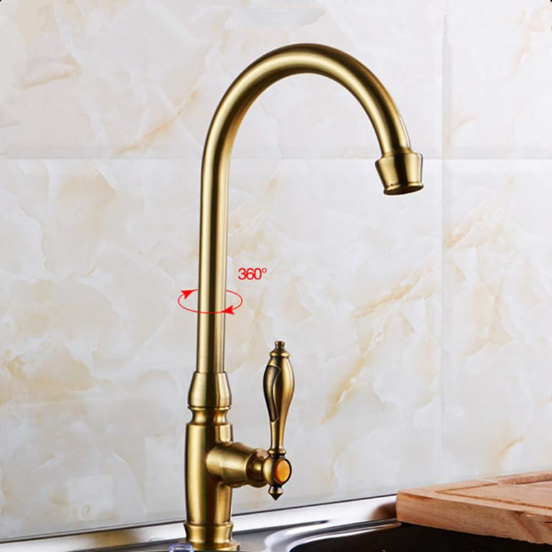 Antique brass kitchen faucet kitchen sink tap cold-water tap 360 Swivel  Spout faucet