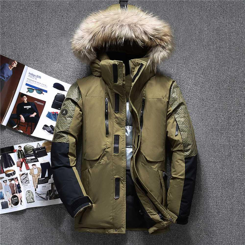 df50514fc Top Winter Fur Hooded Duck Down Jackets Men Warm High Quality Down Coats  Male Casual Winter Outerwer Parkas Mens Clothing