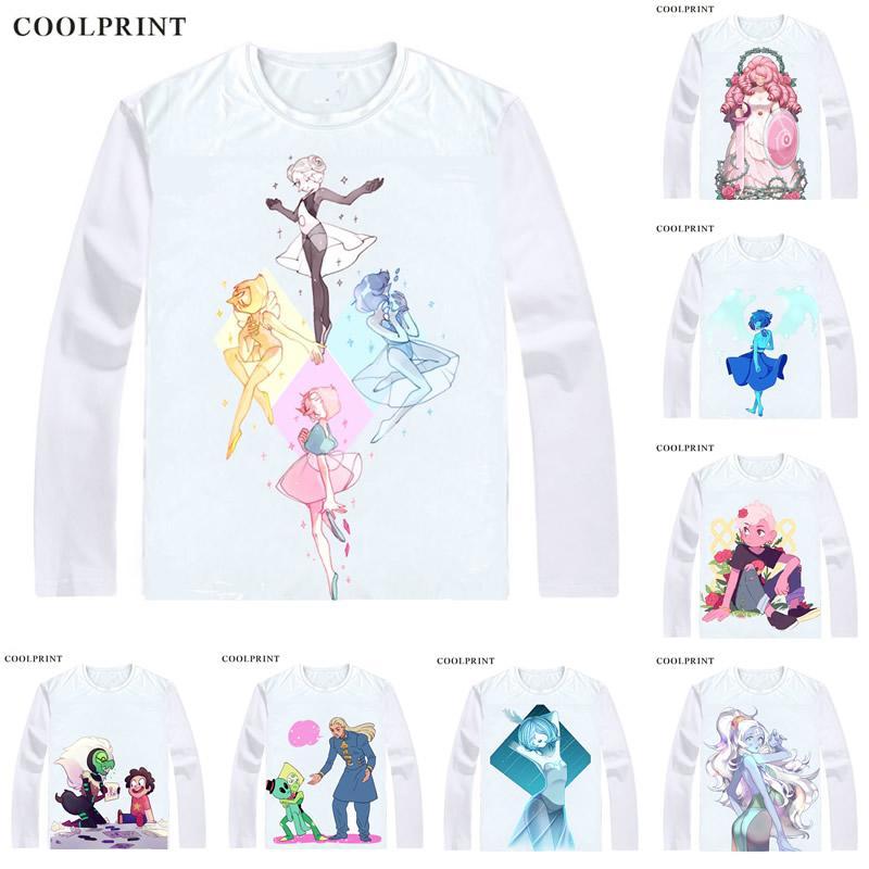 522769ae7 Compre COOLPRINT Steven Universo Camisetas De Manga Longa Camisas Anime  Manga O Cristal Gems Steven Quartz Universo Garnet Ametista Camisa Cosplay  De ...