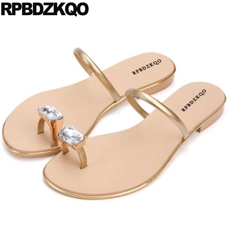 a1a80dd5255593 Famous Brand Red Luxury Shoes Women Designer Gold Flat Toe Ring Rhinestone  Jewel Slides Diamond Crystal Lady Summer Sandals Discount Shoes Platform  Heels ...