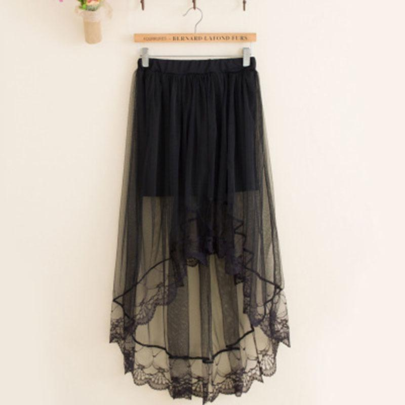Lace Girl Summer Long Lace Skirt Women Black White Mesh Voile Casual Skirts  High Waist Bohemian Sexy Transparent Maxi Skirt Online with  30.88 Piece on  ... 8ba8e26de8dd
