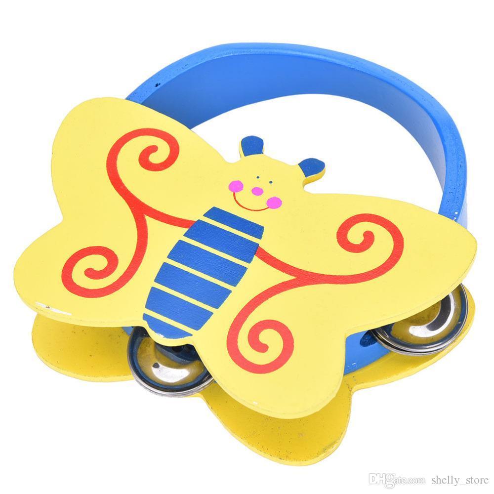 En gros Bébé Nouveau-Né Cadeau Jouets Enfants Filles D'apprentissage Instrument de Musique Jouet Hochets Bande Dessinée En Bois Percussion Animal Bell Infant Garçons