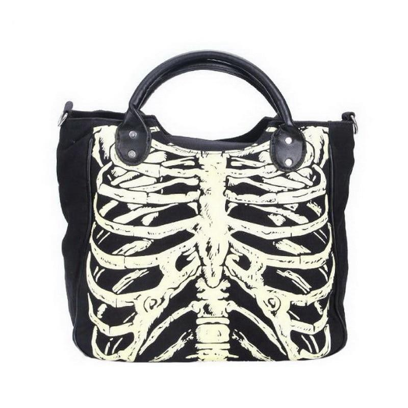 Women Skeleton Bones Luminous Handbag Bats Skulls Eyeballs Gothic Shoulder  Bag Horror halloween Printing Noctilucence Handbag FFA941