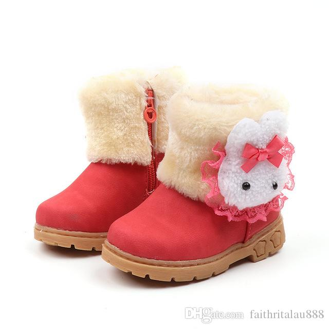 b1ce1b79c2852 Cute Winter Girls Boots Thick Warm Cartoon Rabbit Snow Ankle Boots Shoes  Kids Cow Muscle Soled Patchwork Short Fur Boots Shoes Children Cheap Boots  For ...