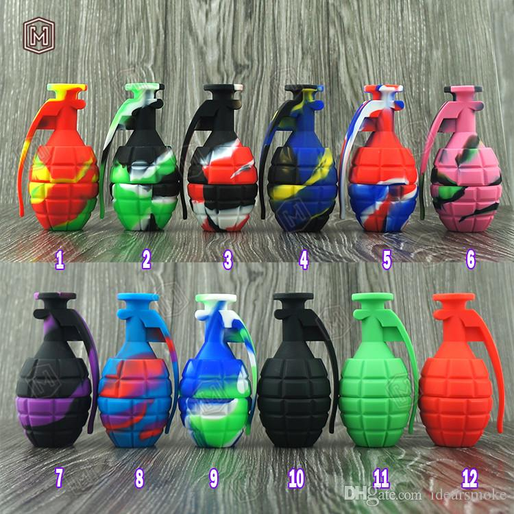 Grenade design Silicone Water Pipes Bong Unbreakable Silicone dab rigs Concentrate Smoking Pipe with Titanium Nail