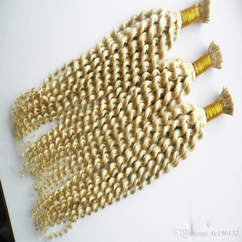 300g 613 Blonde Virgin Hair Nail I Tip Hair Extensions Curly Pre Bonded Hair On Keratin Capsules 1g/strand