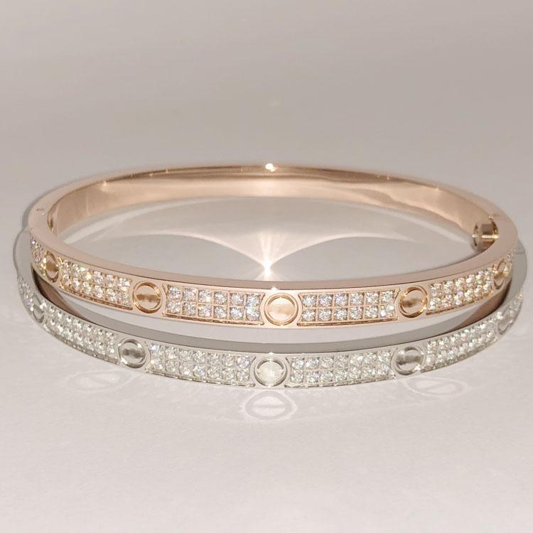 Mode en acier inoxydable ouvert Bracelet pour Femmes Femme à deux rangs Zircon Bangles Pierre dans / Argent / Rose Couleur Or