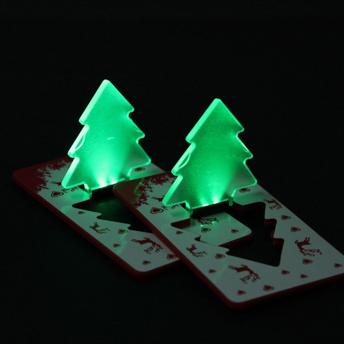 Gro handel mini faltende led weihnachtsbaum karten abs nachthellgr n gelbe neuheit - Weihnachtsbaum mini led ...