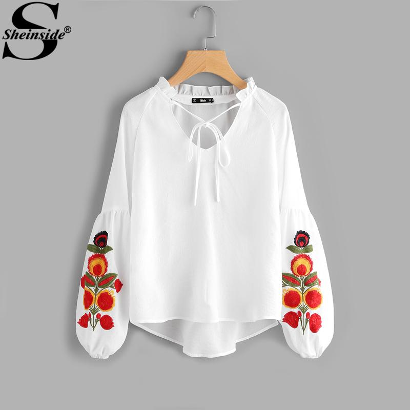 99106dfdab20f 2019 X201712 Sheinside White Floral Embroidery Blouse Lantern Sleeve Frill  Tie Neck V Neck High Low Plain Top 2017 Womens Boho Blouse From Huang02