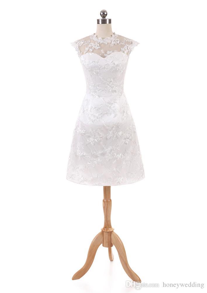 Vestido blanco corto con encaje