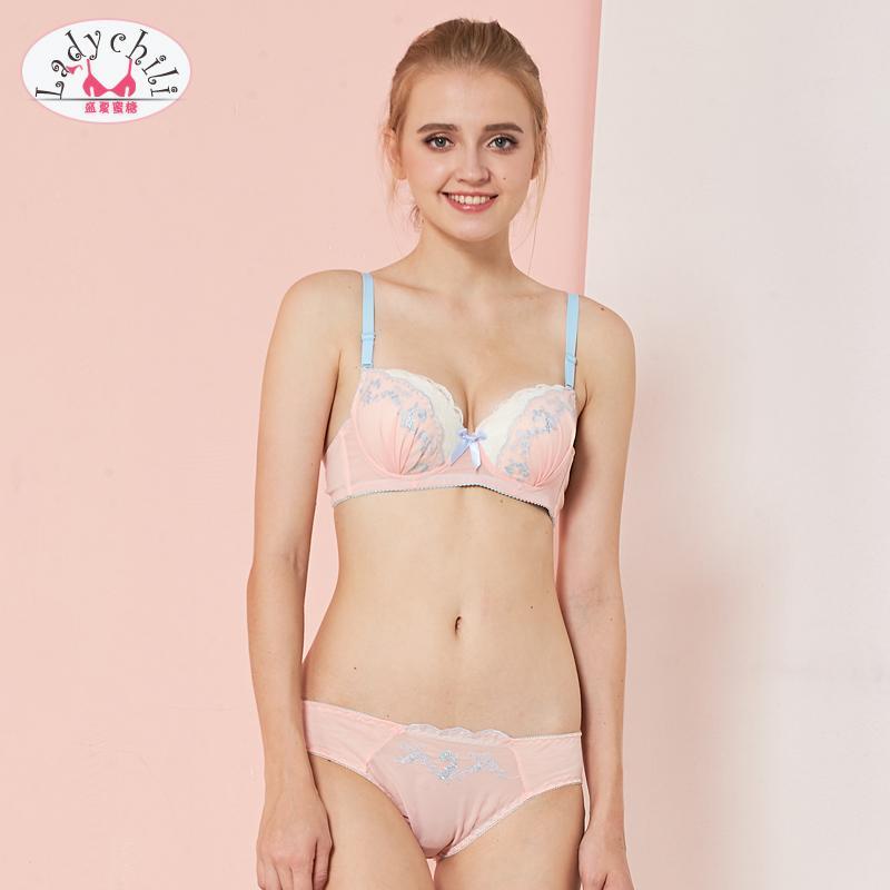 2990272b01 2019 Ladychili Women Intimates Pink Chiffon Lace Embroidery Yong Girl  Matching Bra And Panties Set Push Up Bra Underwear Kit N224 From Burtom