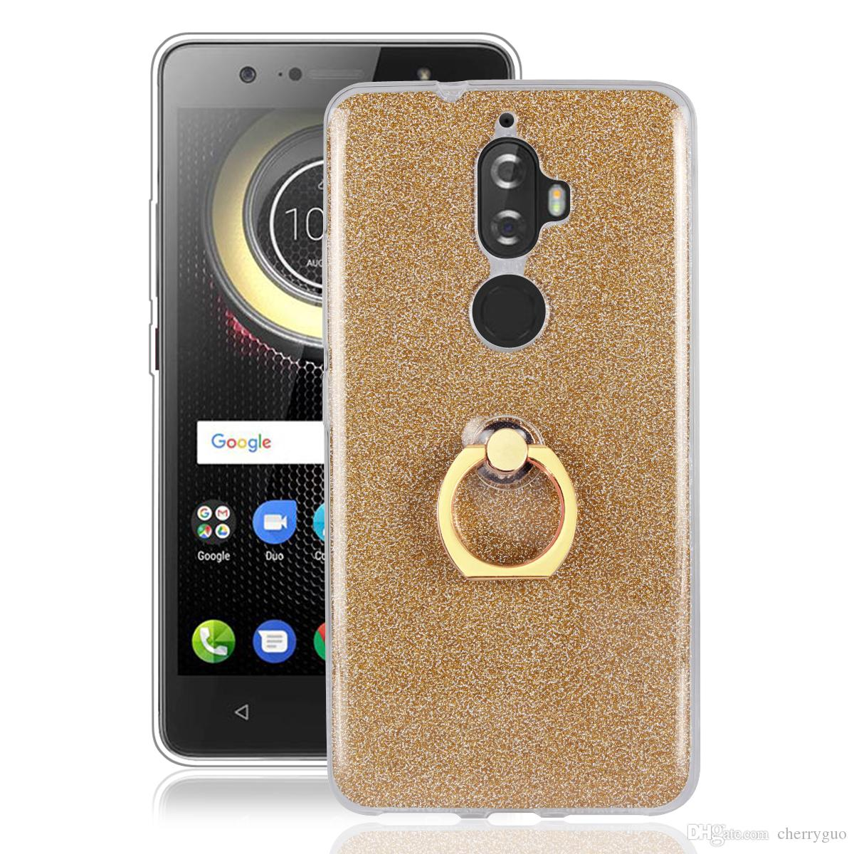 low priced 2f5ac db5ce Phone Case for Lenovo K8 Plus, Soft TPU Transparent Bling Back Cover With  Ring Holder Stand