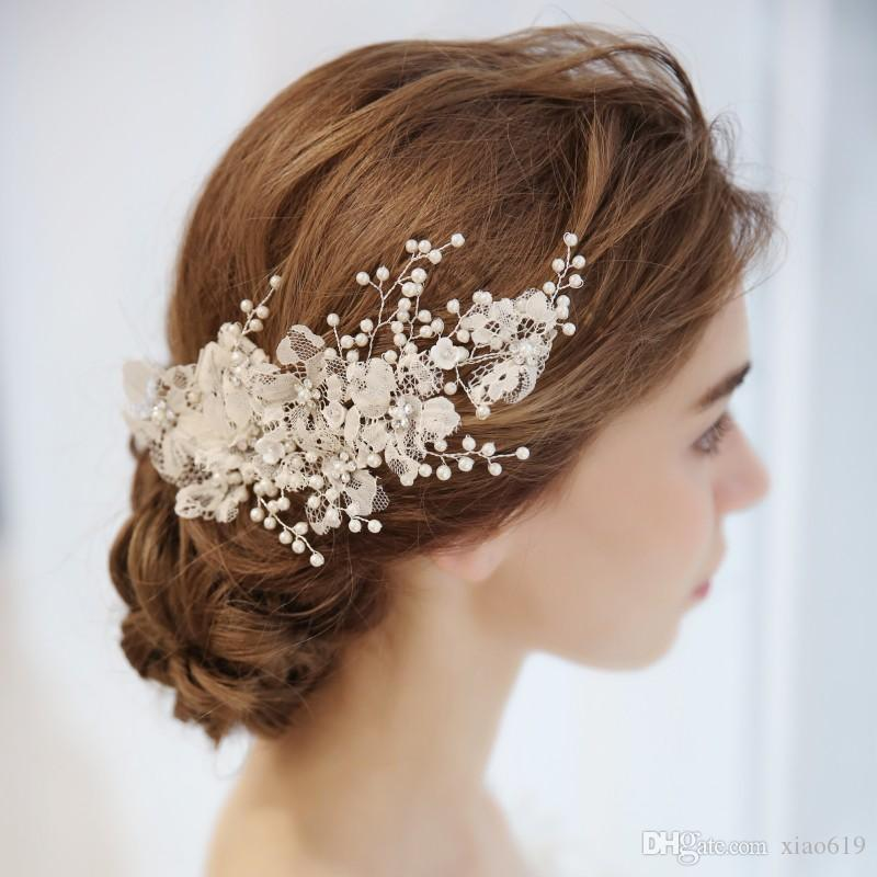 Charming Lace Flower Bridal Barrettes Hair Clip Pearls Wedding Hair Comb Jewelry Handmade Women Accessories Headpiece