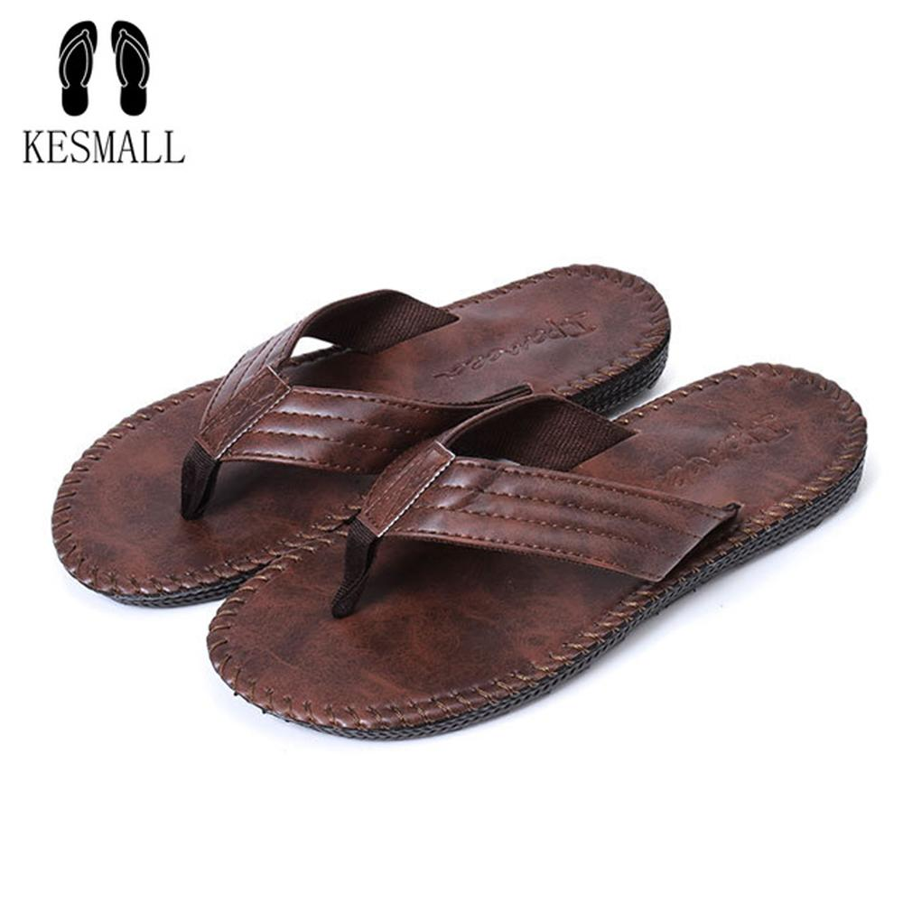 6ca451f38623 KESMALL Leather Men Beach Slippers Fashion Flip Flops With Soft Sole Trendy  Breathable Easy To Match Men Summer Non Slip Shoes Ladies Slippers Boys  Slippers ...