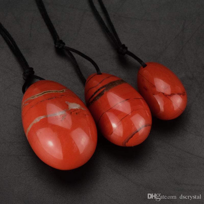 3шт красная яшма йони яйца природный кристалл камень овальные яйца лечебные медитации яйца яйца веревка отверстие массаж таза кегеля упражнения вагинальный мяч
