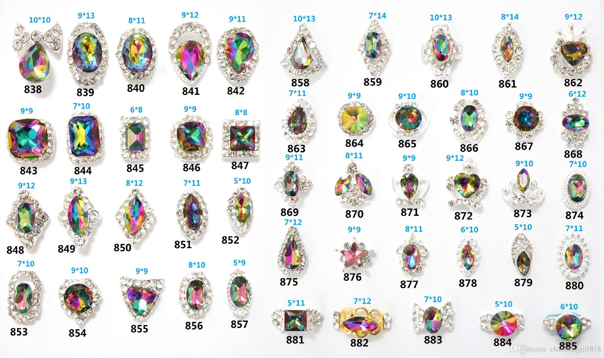 2018 Luxury Alloy Artificial Color Diamond Nail Art Charms Glitter