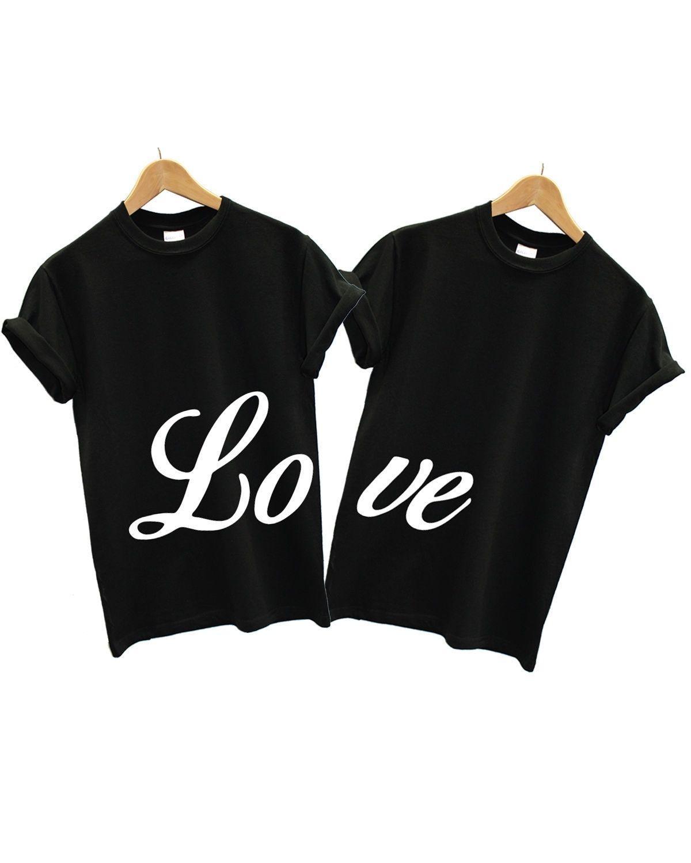 Love T Shirt Couples 2 Pack Matching Valentines Day Boyfriend