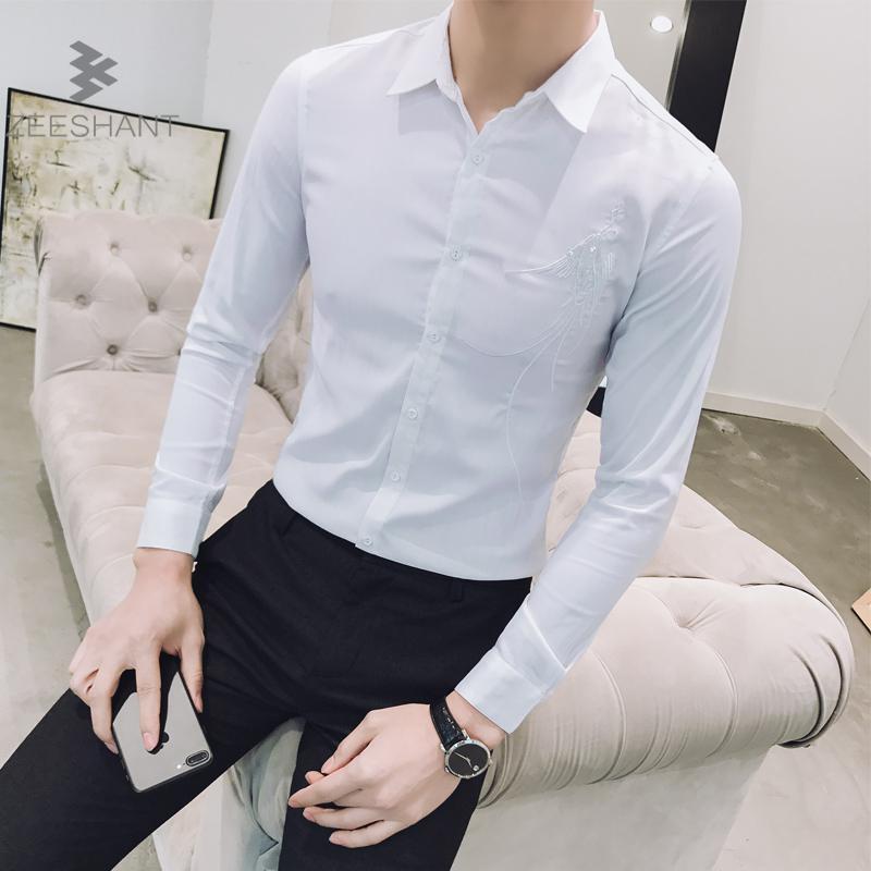 Compre ZEESHANT Hombre Vestir Camisas De Vestir 2018 Casual Slim Fit Camisa  Para Hombres Chemise Homme Camisa Para Hombres Solid Camisa Masculina  Business A ... ac8526dae57a7