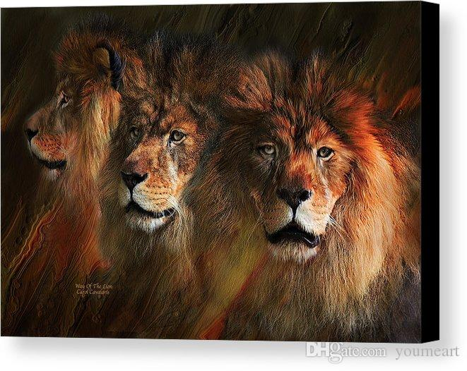 YOUME ART Giclee Animal the urge to merge way-of-the-lion oil painting arts and canvas wall decoration art Oil Painting on Canvas 60X76cm