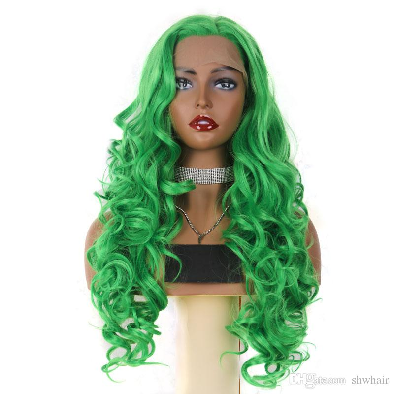 Best Synthetic Lace Front Wigs Long Body Wave Green Color Light Lace  Natural Hair Frontal Free Parting Synthetic Lace Wig For White Women Long  Hair Wig Buy ... 1f25244f8251