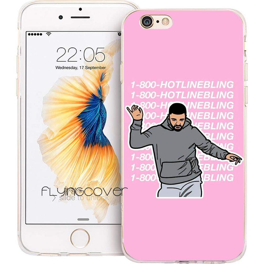 sports shoes ea1ea 7b636 Coque Drake Hotline Bling Clear Soft TPU Silicone Phone Cover for iPhone X  7 8 Plus 5S 5 SE 6 6S Plus 5C 4S 4 iPod Touch 6 5 Cases.