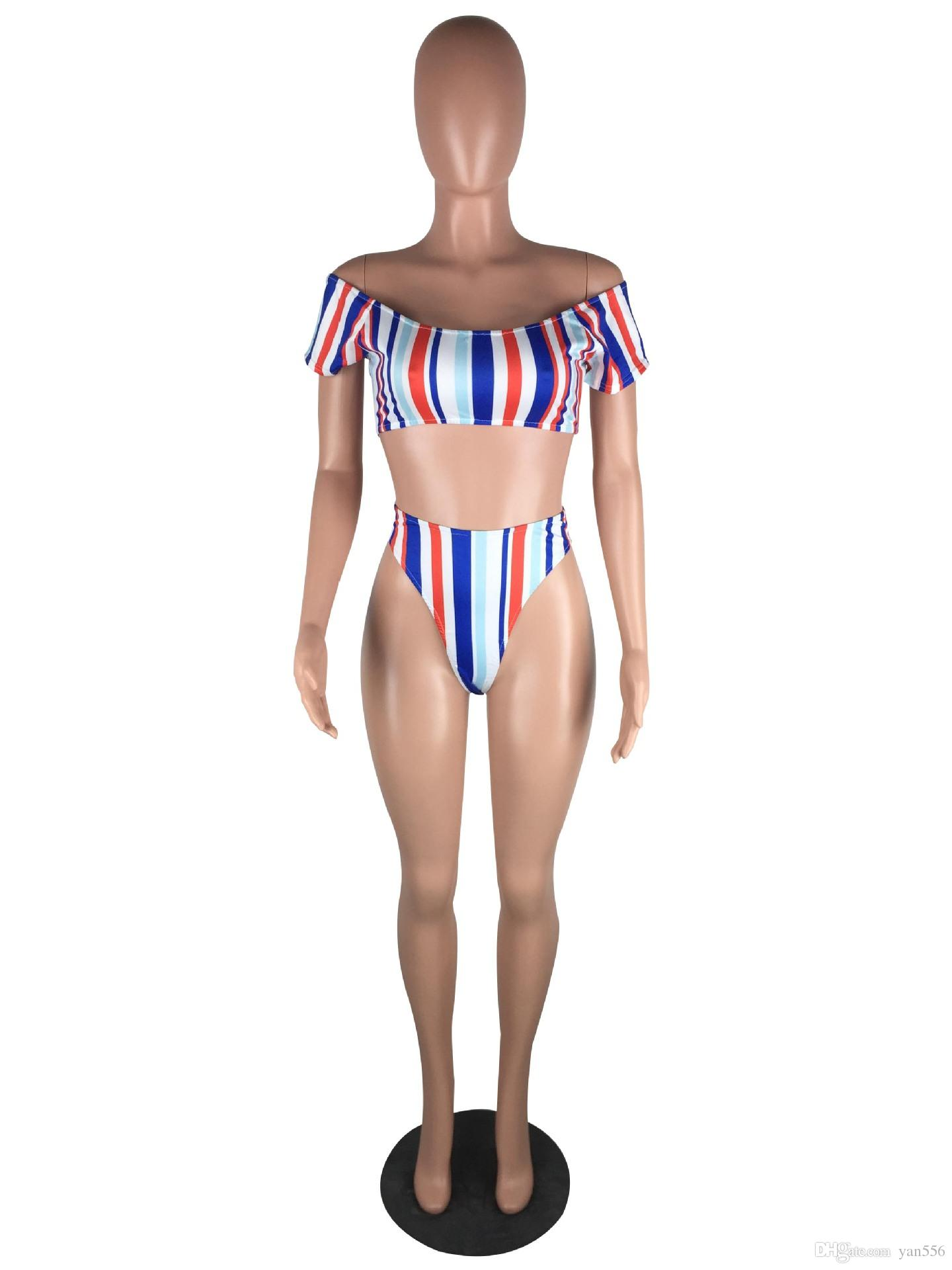 2018 Split swimsuit sexy bikini stripe swimsuit fashion small fresh hot spring bathing suit Beach Bathing Suit Swimwear