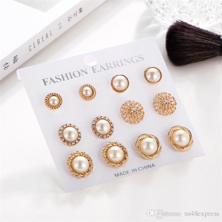 6Pair/set Fashion Crystal Stone Gold Flower Pearl Hollow Earrings Retro Vintage Stud Earring Set Jewelry Accessories Woman Wedding Gift