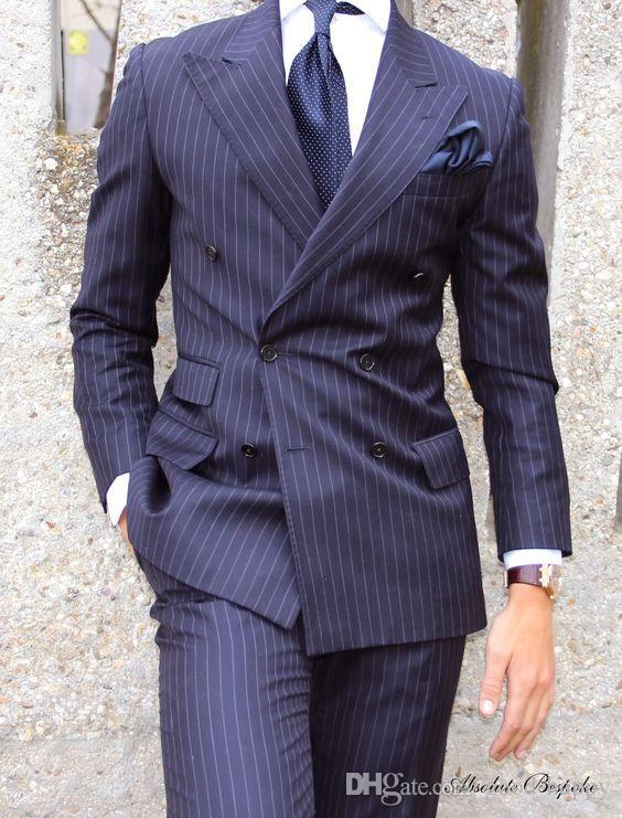Diseño personalizado Novios de esmoquin Pico solapa Doble botonadura Raya azul traje de negocios de los hombres del partido de los hombres del padrino de boda trajes chaqueta + pantalones + corbata + chaleco