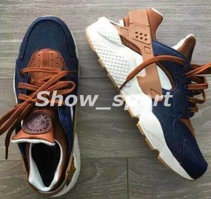f131dd931f61 2018 Huarache ID Custom Breathe Running Shoes Men Women Navy Blue Tan  Fashion Huaraches Multicolor Denim Huarache Sneakers Athletic Trainers Running  Shoes ...