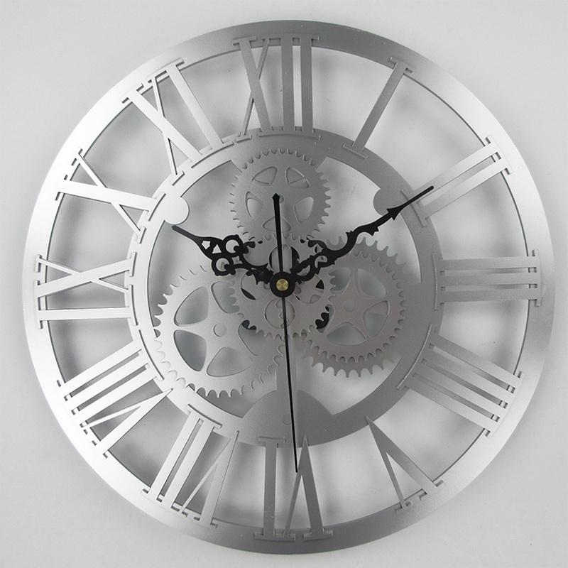 European Antique Gear Wall Clock Vintage Mechanical Gear Clock Large Wall  For Art Home Living Room Decoration Silver Wall Clock Silver Wall Clocks  From ...