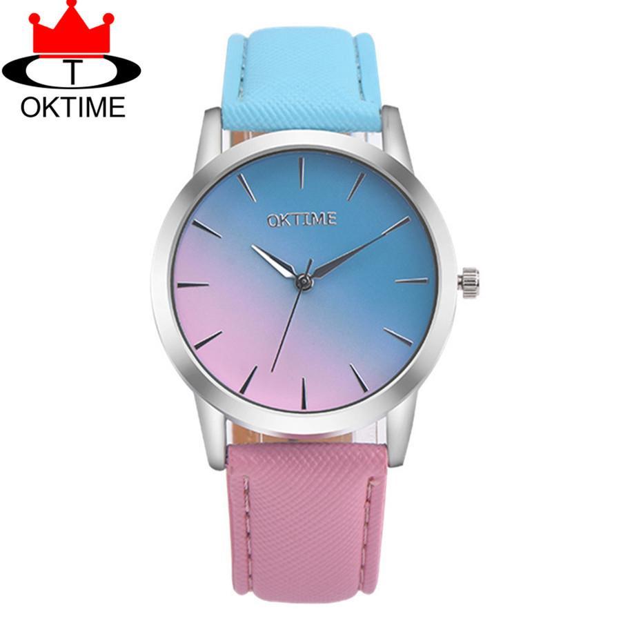 fc66b82aa459 Compre OKTIME Moda Hermoso Reloj De Cuero Arco Iris Casual Mujeres Cuarzo Relojes  De Pulsera Unisex Reloj Elegante Relogio Feminino A  6.24 Del ...