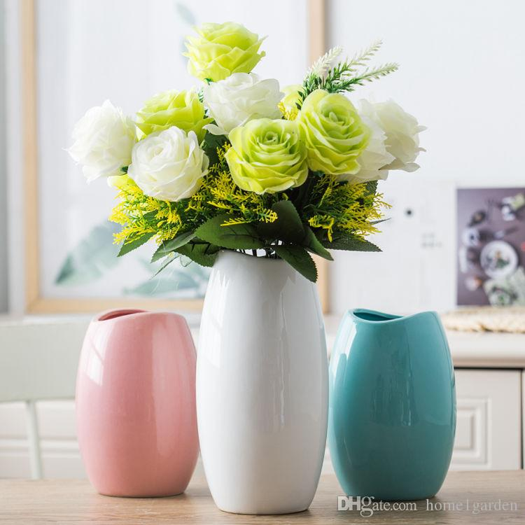 Classic Crafts White Ceramic Flower Vase Creative Gift Household Decoration Vases S M L 3 Pcs Lot