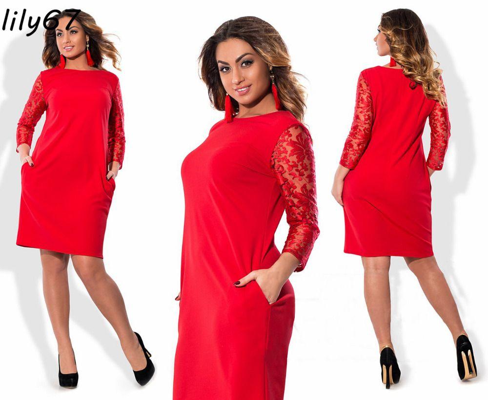 Casual 6XL Plus Size Sexy Dress 2018 Summer Dresses Women Lace Dress Long Sleeve hollow out Dress Loose High Quality Vestidos de festa