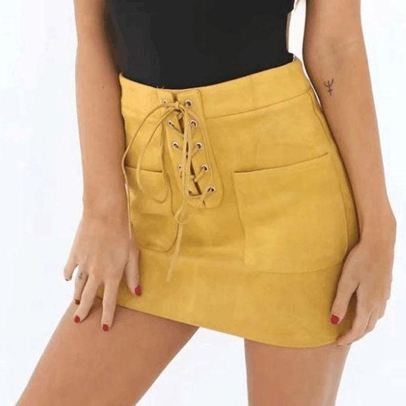 c7796e10206 Korean Skirt Lace-Up Pockets Yellow Women Leather Suede Skirts High Waist  Tube Bodycon Short Summer 2018 Mini Skirts Pencil Online with  31.07 Piece  on ...