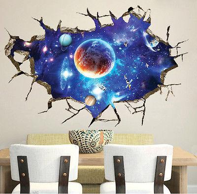 galaxy planet space wall sticker for kids boys bedroom art vinyl 3d