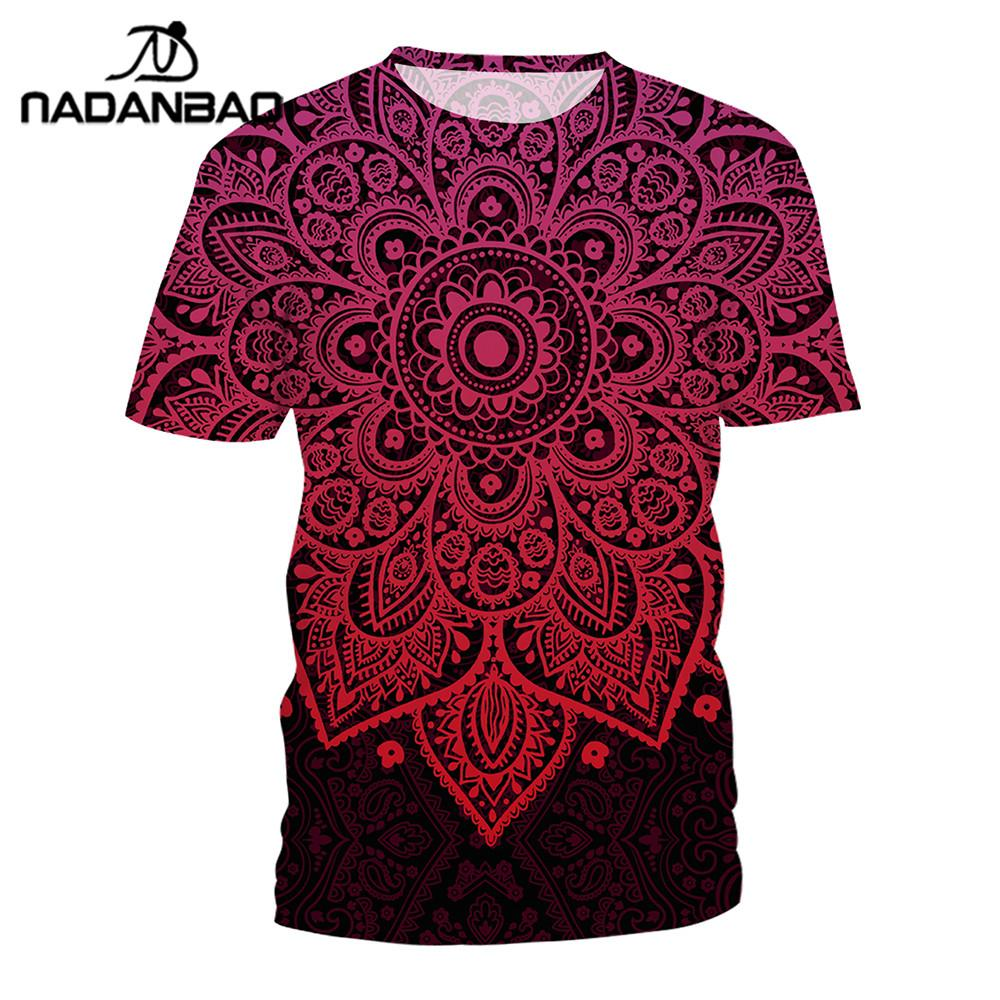 Nadanbao Aztec Round Ombre Mandala Tshirt Women Tops Digital Printed