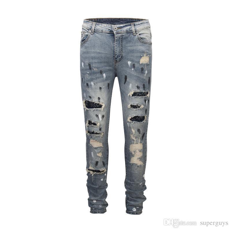 7d3f15c33b5e0 Acquista Jeans Strappati Da Uomo Skinny Jeans Progettista Di Marca  Distressed Slim Fit Jeans Strappati Strappati Biker Jeans Pantaloni Jeans  Eleganti JS44 ...
