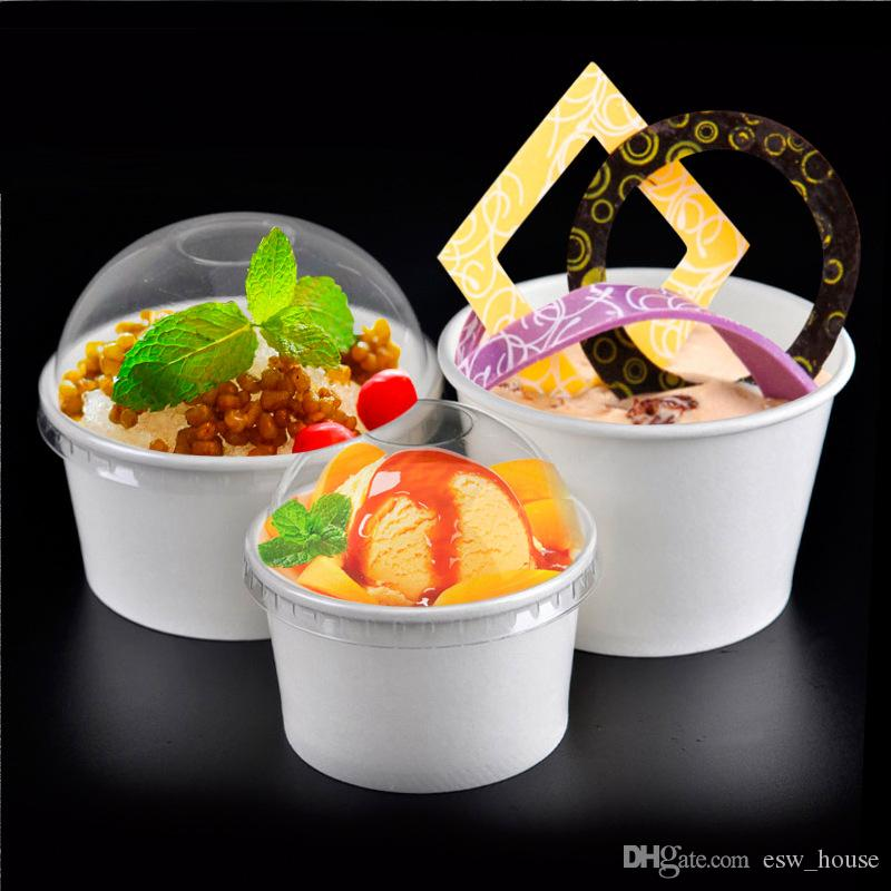 3oz 5oz 8oz White Ice cream paper cup disposable yogurt bowl disposable smoothie paper bowl Arched transparent cover Free shipping
