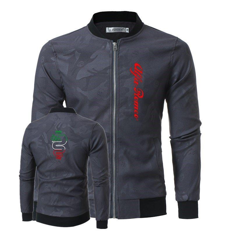Fashion Men Bomber Jacket Hip Hop Alfa Romeo Printed Designs Slim