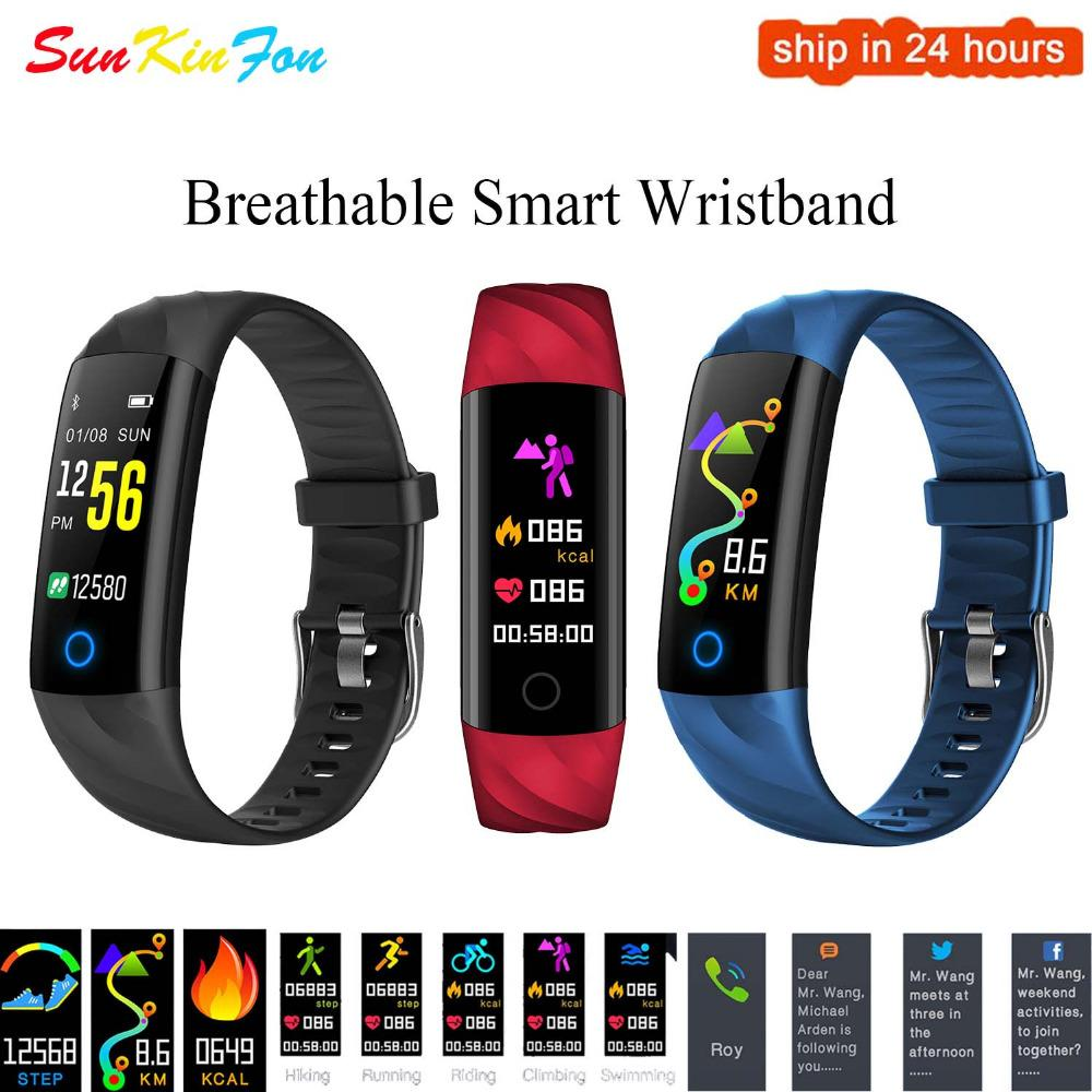 D11 Smart Bracelet Respirant Fitness Tracker Cardiofréquencemètre Oxygen Tracker Smart Band pour Galaxy Note 8 5 4