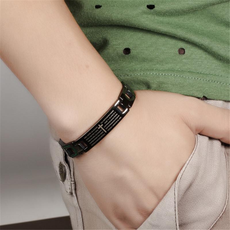 Erkekler Vintage Moda Takı Yüksek Kalite Ünlü Marka OB768 İçin Siyah 316l Paslanmaz Çelik Çapraz Charm Bilezikler
