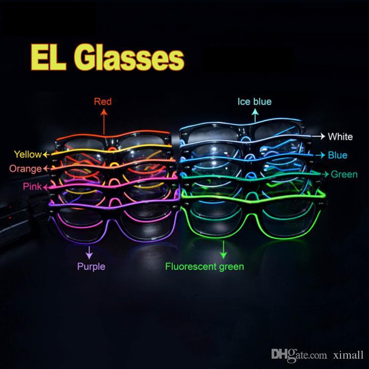 Occhiali da festa a LED Fashion EL Wire Glasses Compleanno Halloween Party Bar Decorativo fornitore di occhiali da sole Occhiali C7198 DHL libero