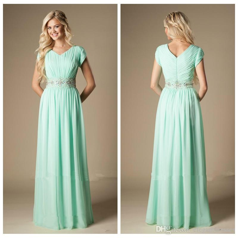 2019 V-Neck Short Sleeves Beaded Waist Long Bridesmaid Dress Modest A-Line Chiffon Formal Maid of Honor Dress Wedding Guest Gown Custom